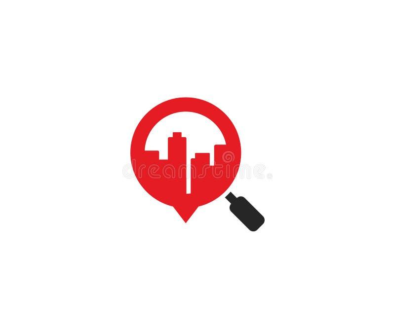 Stad i en förstoringsglaslogomall Skyskrapor och förstoringsapparatvektordesign royaltyfri illustrationer