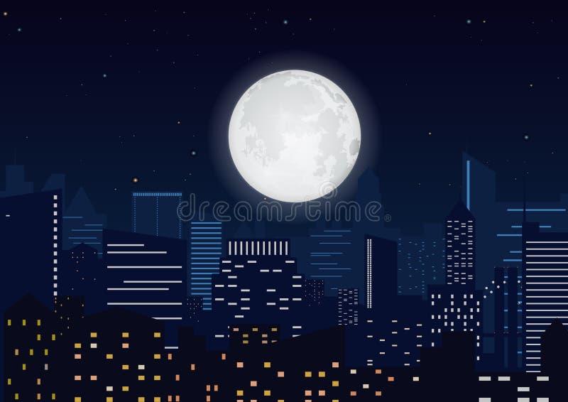 Stad i natten Cityscapenattkontur med den stora månevektorillustrationen royaltyfri illustrationer
