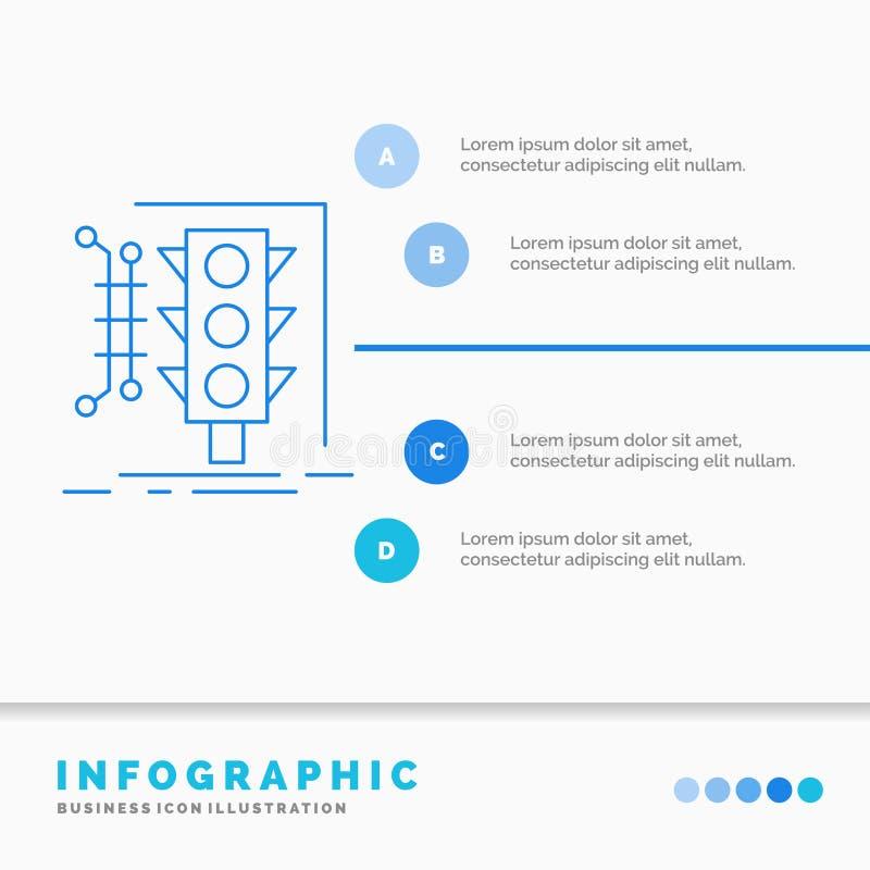 Stad, ledning, övervakning, smart, trafikInfographics mall för Website och presentation Linje infographic stil f?r bl? symbol vektor illustrationer