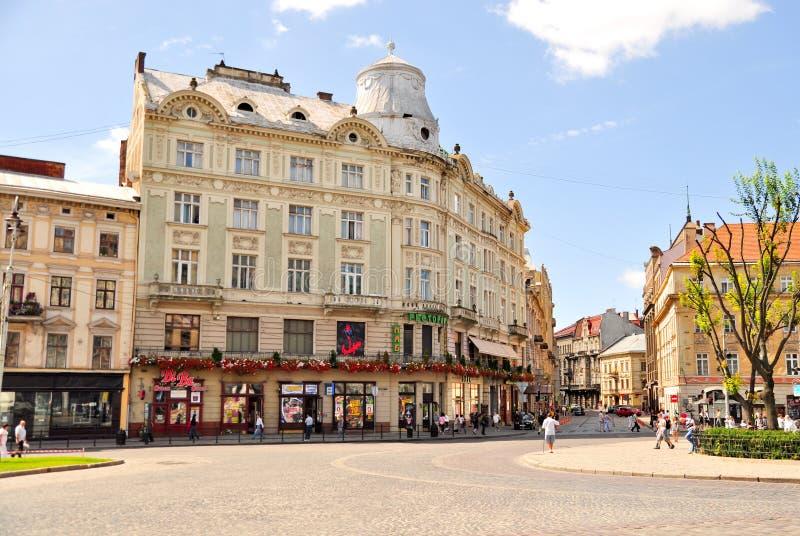 stad lviv ukraine royaltyfria bilder