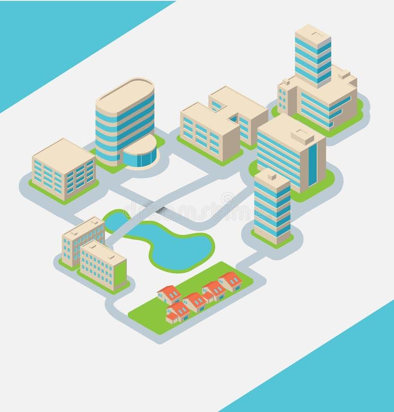 Stad med isometriska byggnader vektor illustrationer