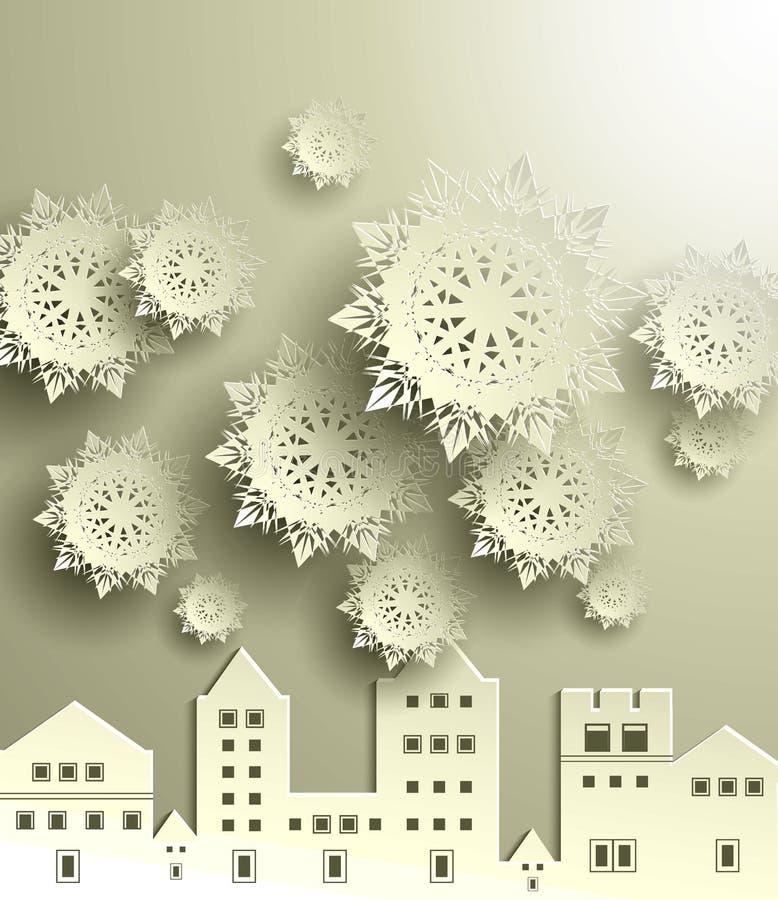 Stad med snöflingan stock illustrationer