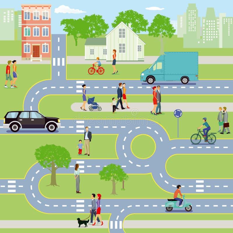 Stad med trafik och gångare vektor illustrationer