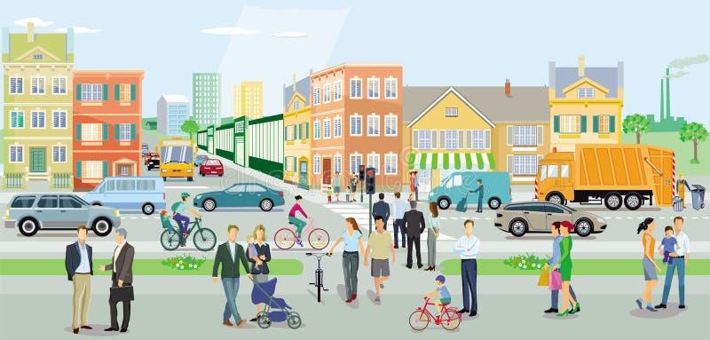 Stad med vägtrafik och gångare stock illustrationer