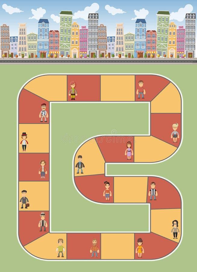 Stad met mensen vector illustratie