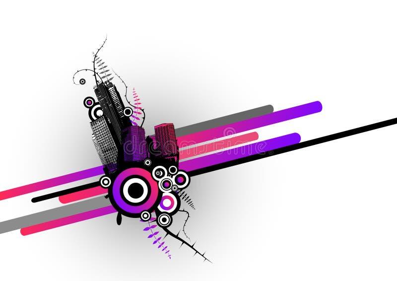 Stad met strepen. Vector vector illustratie