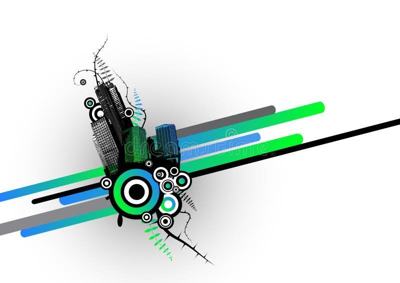 Stad met strepen. Vector royalty-vrije illustratie