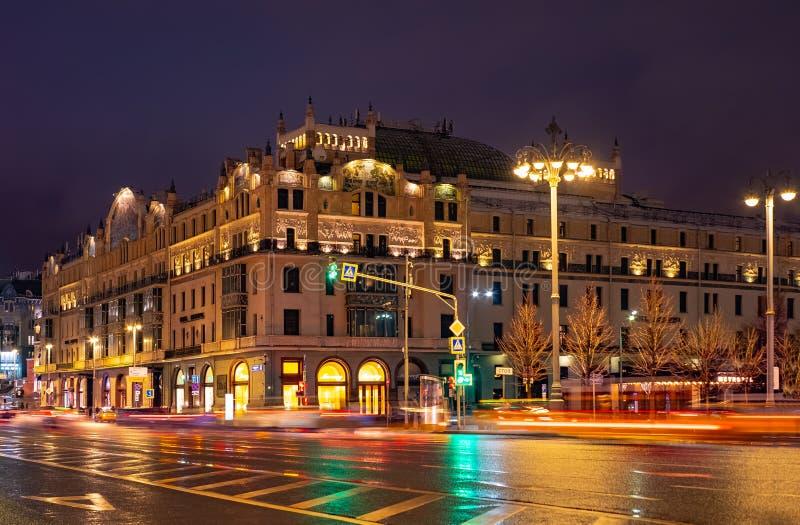 Stad Moskou Weergeven van de Theaterpassage aan het hotel Metropol royalty-vrije stock foto's
