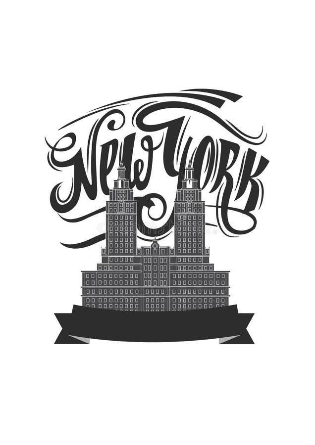 stad New York Isolerad NY-logo NYC-etikett eller logotyp Tappningemblemkalligrafi i grungestil stock illustrationer