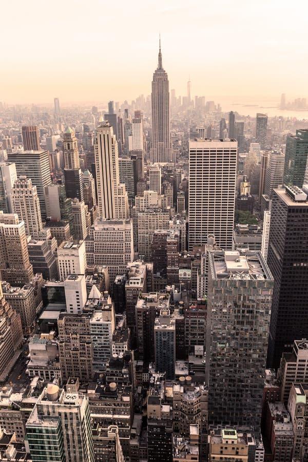 stad New York Manhattan i stadens centrum horisontpanorama arkivbild