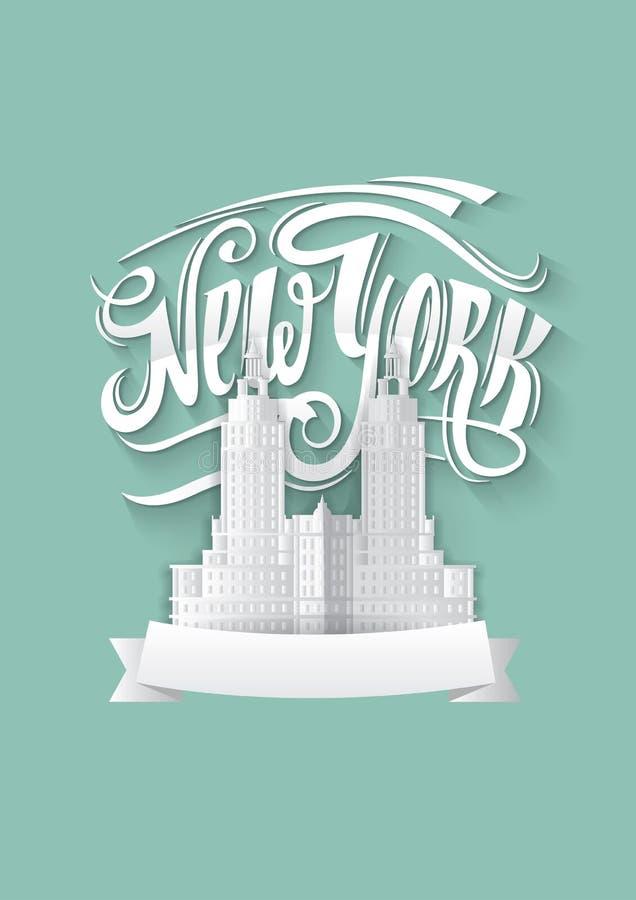 stad New York NY-logo NYC-etikett eller logotyp Kalligrafi för emblem för tappningpappersstil stock illustrationer