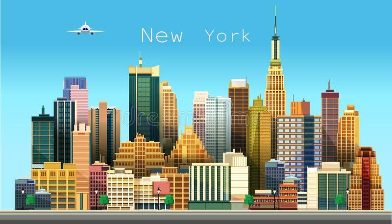 stad New York också vektor för coreldrawillustration stock illustrationer