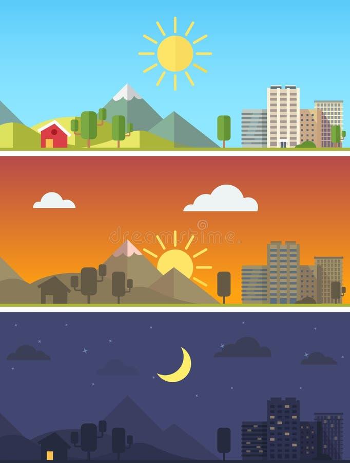 Stad och landskap i olika tider av dagen vektor illustrationer
