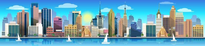 Stad och natur, vektorlandskap stock illustrationer