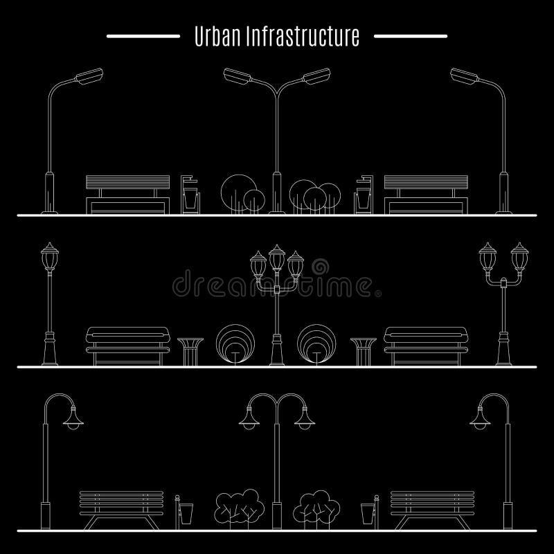 Stad och utomhus- beståndsdel stock illustrationer