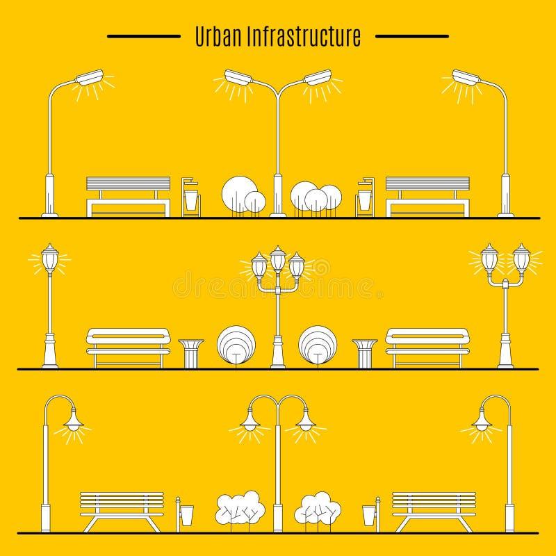Stad och utomhus- beståndsdel vektor illustrationer
