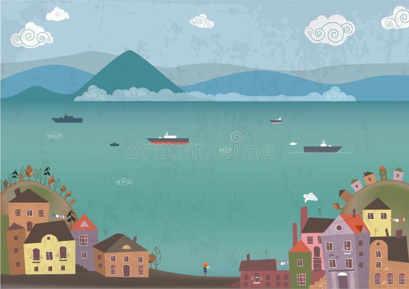 Stad op overzeese kust royalty-vrije illustratie