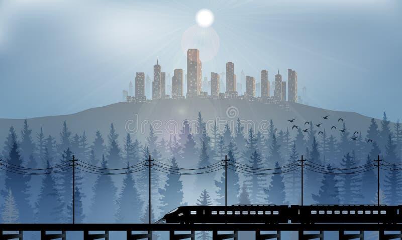 Stad på kullarna på nattbakgrund vektor illustrationer