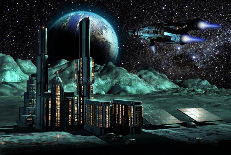 Stad på moonen vektor illustrationer