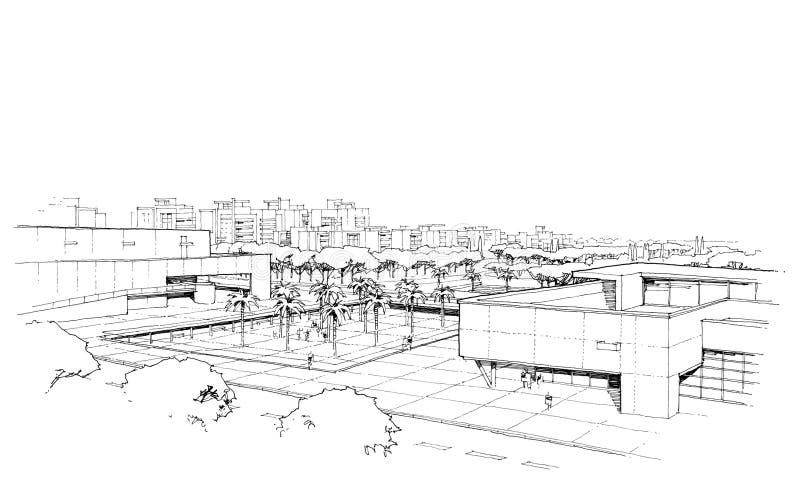 Stad panorama-3 stock illustrationer