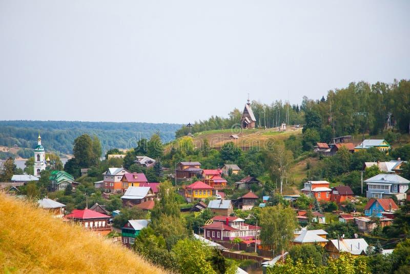Stad Plyos, het gebied van Ivanovo stock afbeeldingen