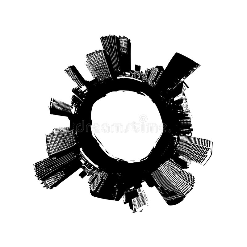Stad rond de wereld. Vector vector illustratie
