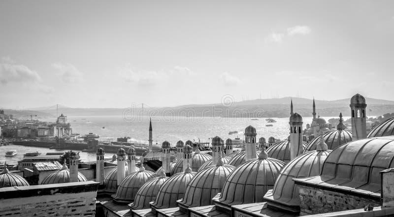 Stad Scape Mening van Suleymaniye-moskee - Istanboel, Turkije royalty-vrije stock fotografie