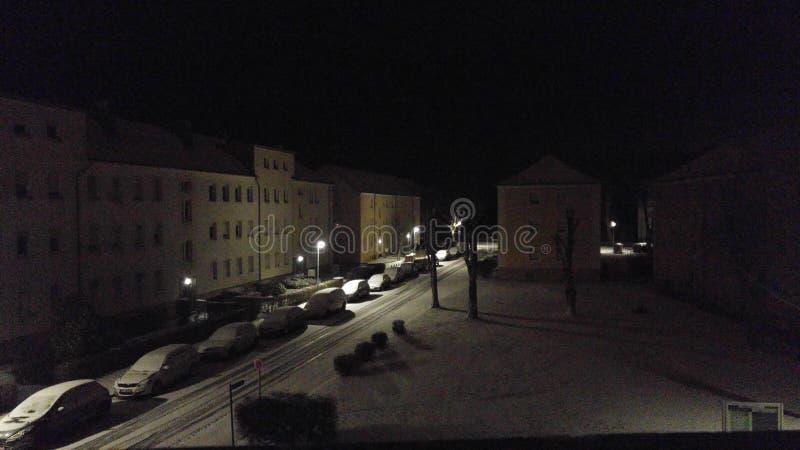 Stad in sneeuw stock foto's
