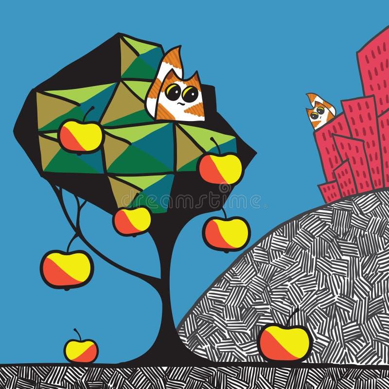 Stad, tuin en katten vector illustratie