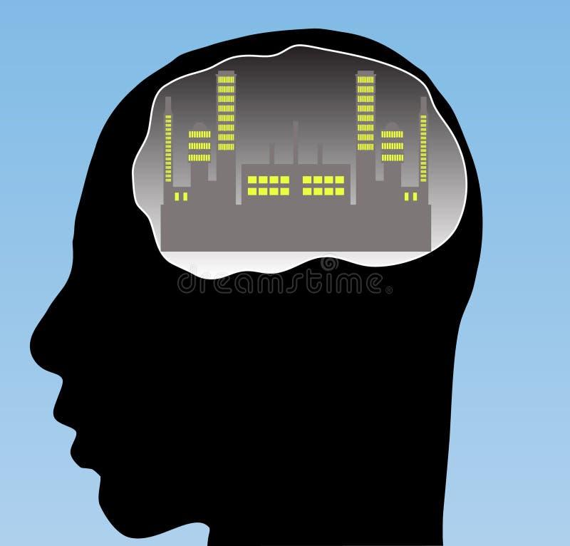 Stad in uw hersenen vector illustratie