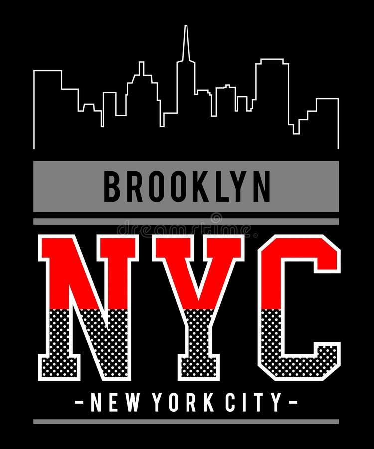 Stad van Brooklyn New York van de ontwerp de vectortypografie vector illustratie