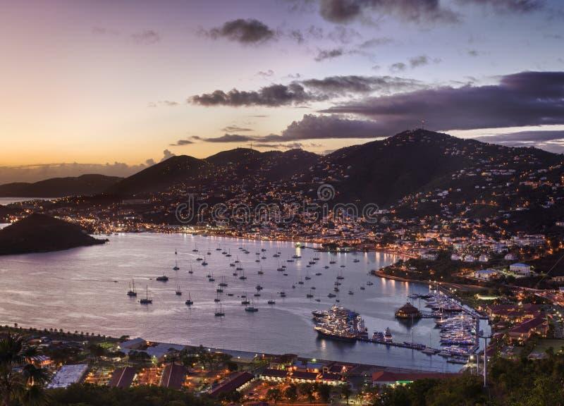 Stad van Charlotte Amalie en Haven royalty-vrije stock fotografie