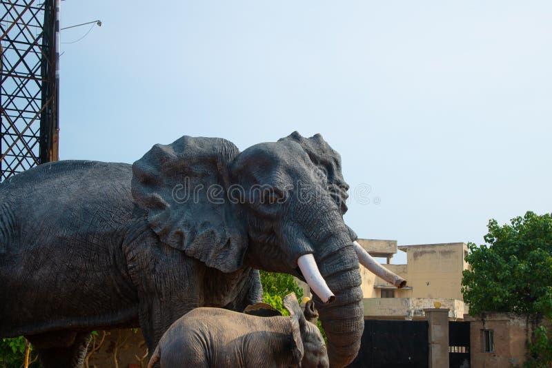 Stad van de close-up de bluesky vizag van het olifantsstandbeeld stock fotografie