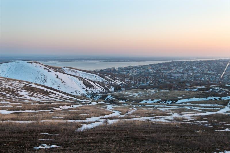 Stad van de hoogte van de berg royalty-vrije stock fotografie