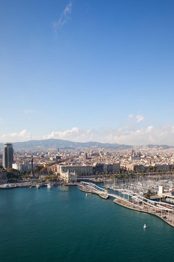 Stad van de luchtmening van Barcelona stock afbeeldingen