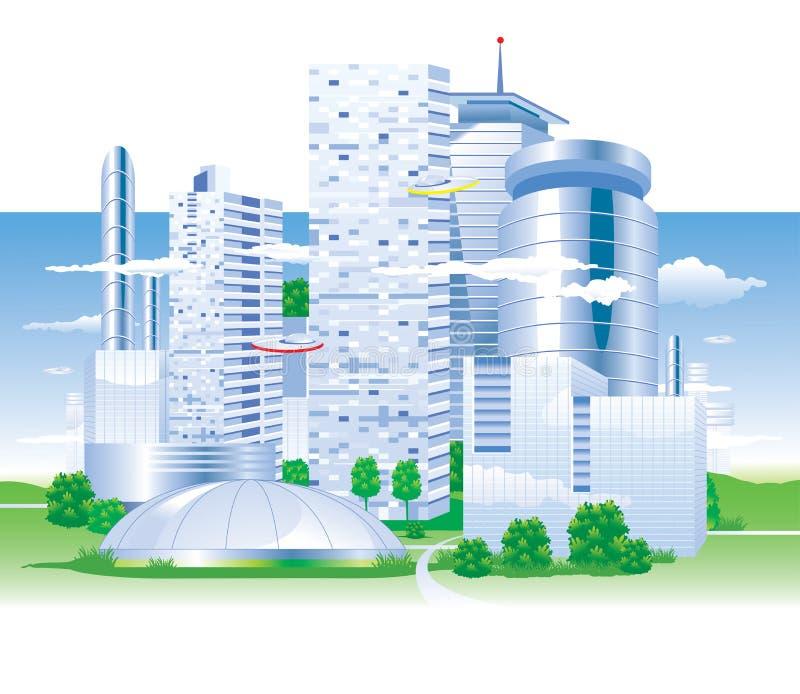 Stad van de toekomst royalty-vrije illustratie