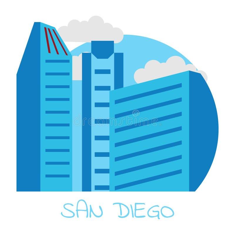 Stad van de vectorpictogrammen van San Diego op witte achtergrond vector illustratie