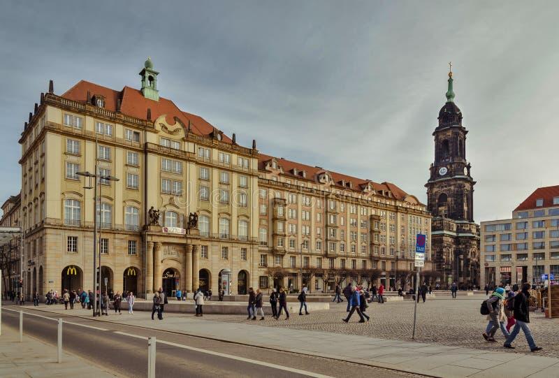 Stad van Dresden saksen duitsland Centrum van de oude stad royalty-vrije stock foto's