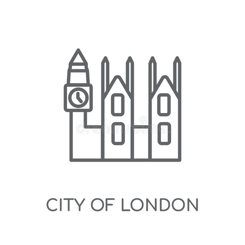 Stad van het lineaire pictogram van Londen Moderne overzichtsstad van het embleem c van Londen royalty-vrije illustratie