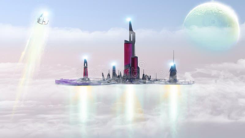 Stad van het toekomstige, stedelijke landschap in de wolken, buitenaardse planeet Andere Werelden ruimteschepen sc.i-FI vector illustratie