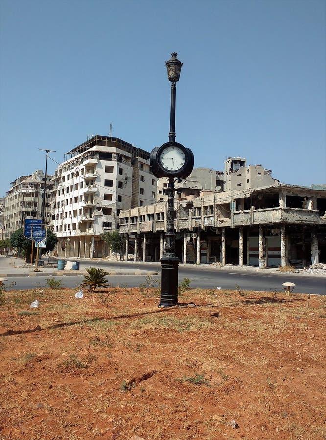 Stad van homs na oorlog stock afbeelding