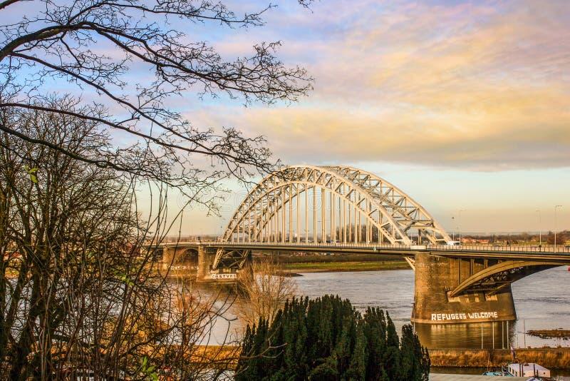 Stad van kleur Nijmegen Nederland royalty-vrije stock afbeelding