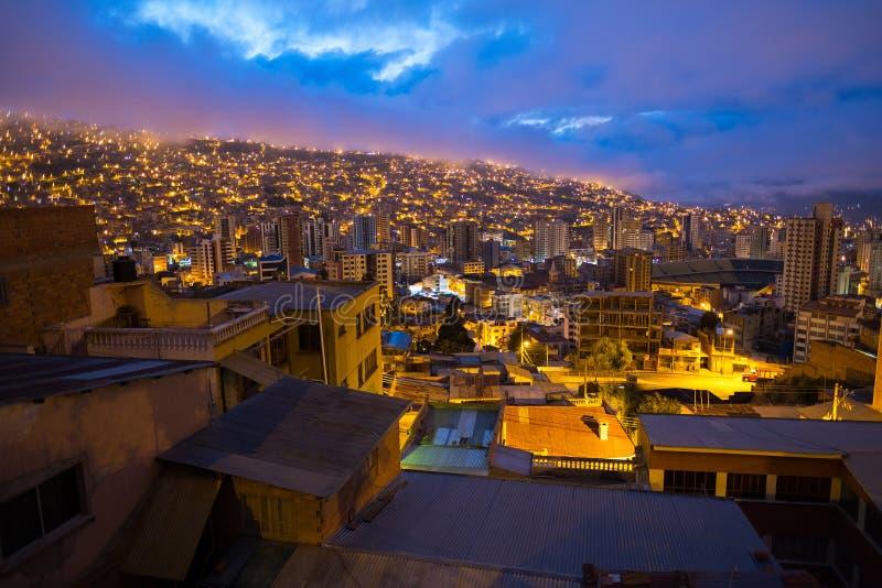 Stad van La Paz bij zonsopgang royalty-vrije stock fotografie
