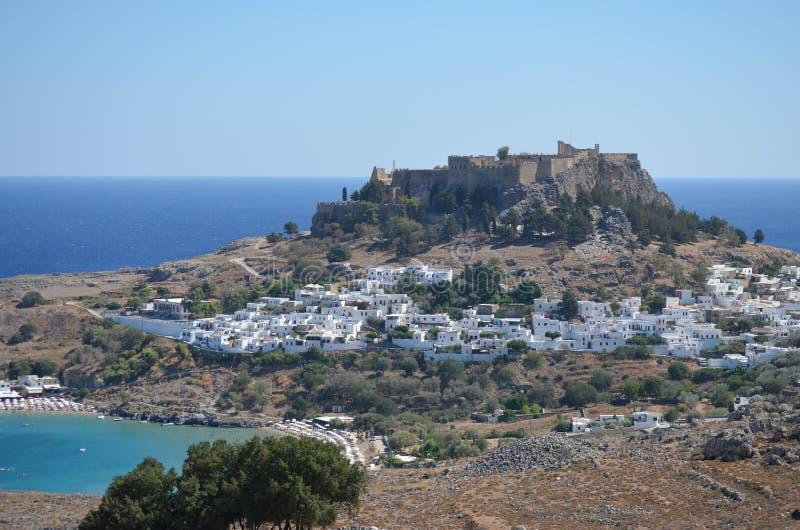 Stad van Lindos op het Eiland Rhodes Greece stock foto