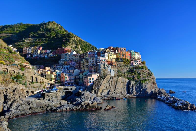 Stad van Manarola, Cinque Terre, Italië royalty-vrije stock foto's