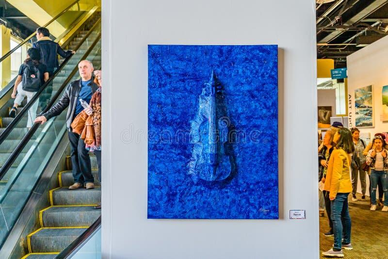 Stad van New York, Manhattan, Verenigde Staten - April 7, 2019 de kunsttentoonstelling van Artexpo New York, modern en eigentijds stock foto