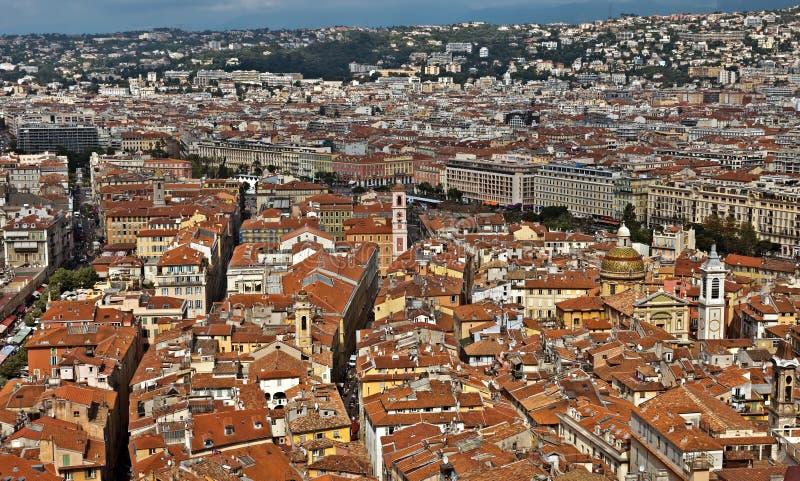 Stad van Nice - Mening van de stad van hierboven royalty-vrije stock afbeelding