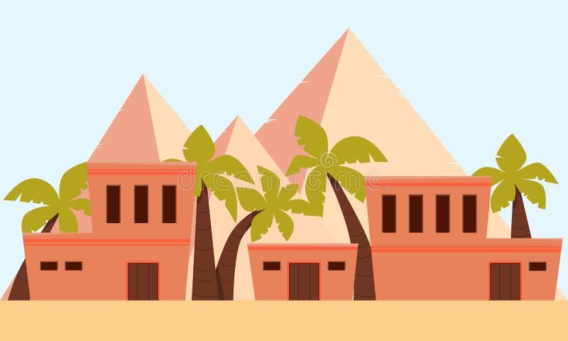 Stad van oud Egypte royalty-vrije illustratie