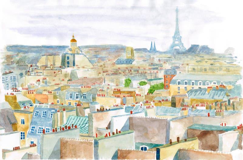 Stad van Parijs in waterverf stock foto