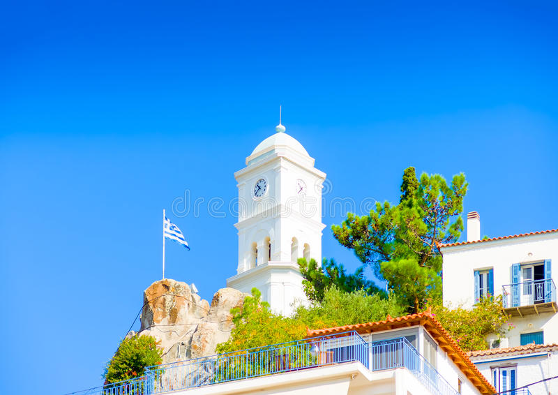 Stad van Poros-eiland royalty-vrije stock afbeelding